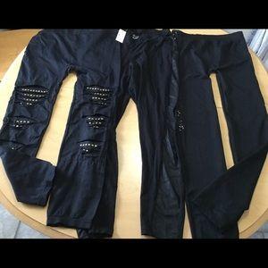 3 pc assorted black stretch leggings lot